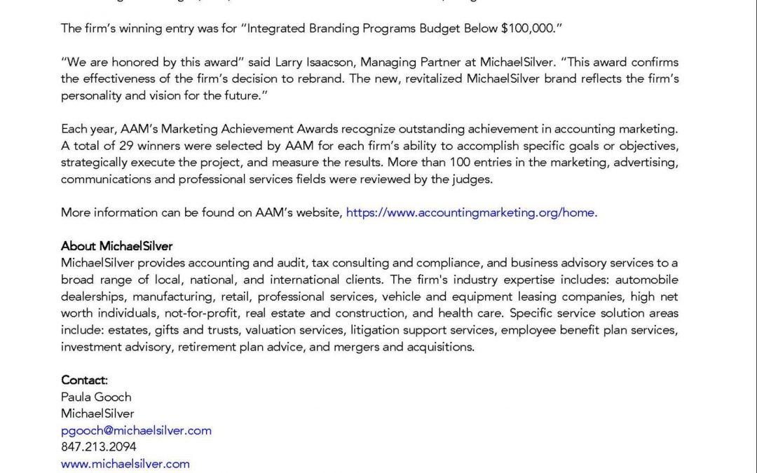 Press Release: MichaelSilver Receives A Marketing Achievement Award